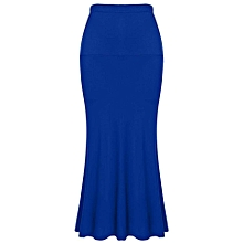 5396cab2e ACEVOG Women Ladies Medium Elastic Waist Stretch Bodycon Pencil Skirt Maxi  Solid Casual Long Skirt (