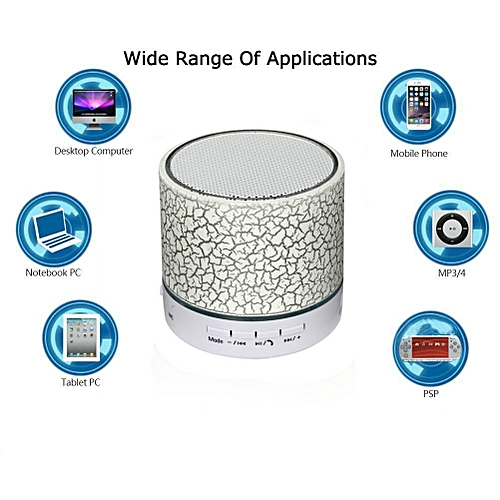 A9 Wireless Bluetooth Speaker LED TF USB Music Player_White