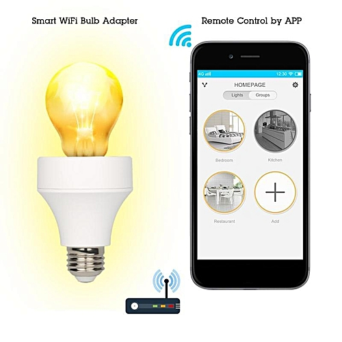 LUSTREON AC100-240V Smart Wifi E27/E26 Bulb Socket Holder Alexa Controller