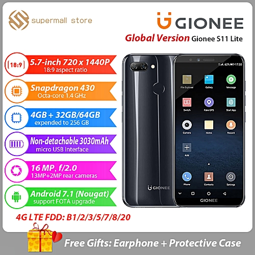 S11 Lite Mobile Phone 4GB + 64GB 5.7inch 16MP Camera Android 7.1 Snapdragon 430 Octa Core Fingerprint 4G Smartphone