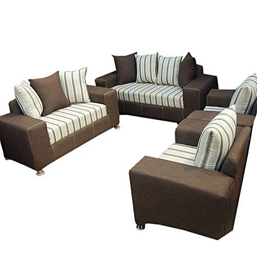 Full Set Of Sofa Chairs Couches Of 7 Seaters - Brown