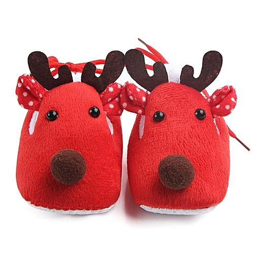 Lovely Christmas Deer Super Soft Bottom Sole Toddler Baby Shoes Daily Wear Red