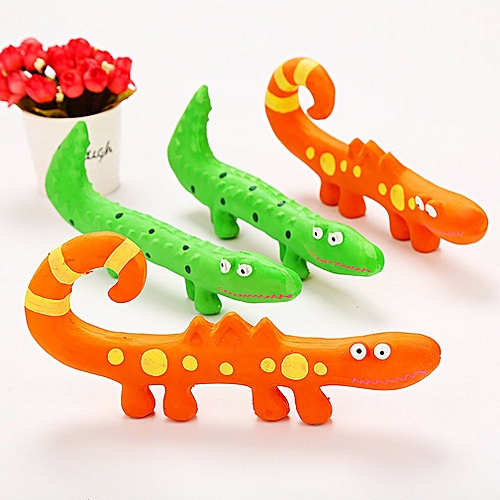 Dog Toy Bite-Resistant Teeth Molars Latex Lizard Bite Toy Interactive Training Orange