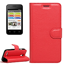 For Alcatel Pixi 4 (3.5) Litchi Texture Horizontal Flip Leather Case With Magnetic Buckle & Holder & Card Slots & Wallet(Red) for sale  Nigeria