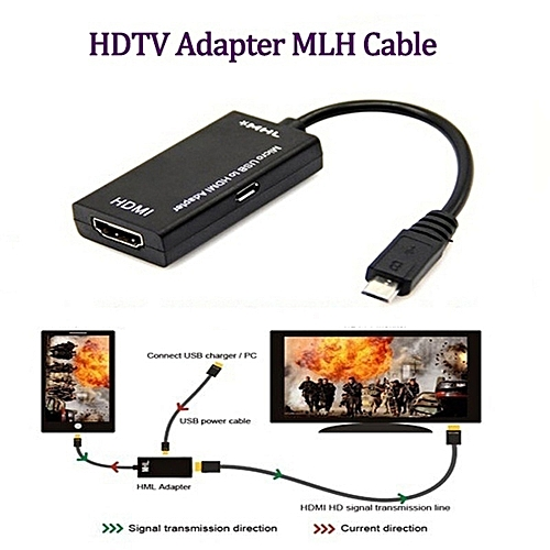 Generic MHL Adapter Micro USB To HDMI Cable For Phone Tablet - Black