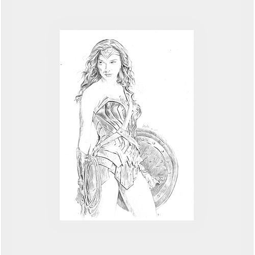 Graphite Drawing Of Wonderwoman Superhero Of DC Comics Artwork On Bristol Paper A4