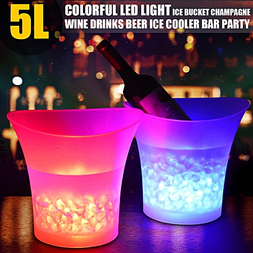 Colorful LED Ice Bucket,5L Large Capacity Wine Cooler