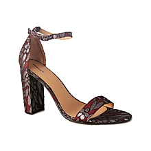 211e4ce6a4a Ankle Strap Block Heeled Sandals - Wine