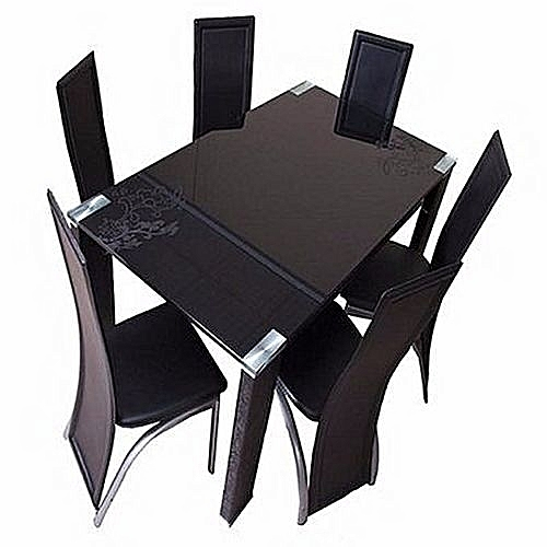 Generic 6 Seater Glass Dining Table Set With Chairs