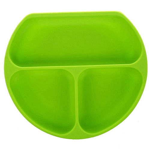 Waterproof Cute Smily Face Baby Kids Suction Silicone Bowl Tableware Food Tray (Green)