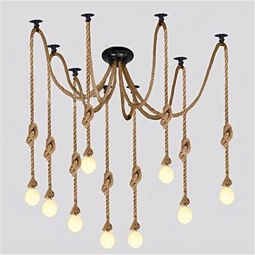 Industrial Pendant Light Retro Vintage Chandelier Hemp Rope Ceiling Spider Lamp