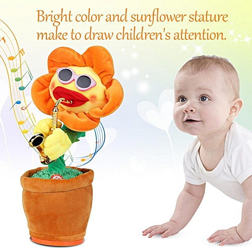 Funny Singing And Dancing Sunflower With Saxophone Soft Plush Electric Toys Gifts