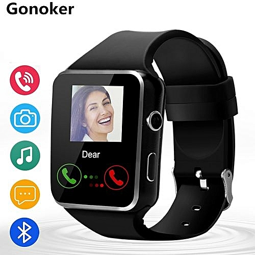 Bluetooth Smart Watch X6 Smartwatch Sport Watch For IPhone Android Phone With Camera FM Support Whatsapp SIM Card Wristwatch T30-black