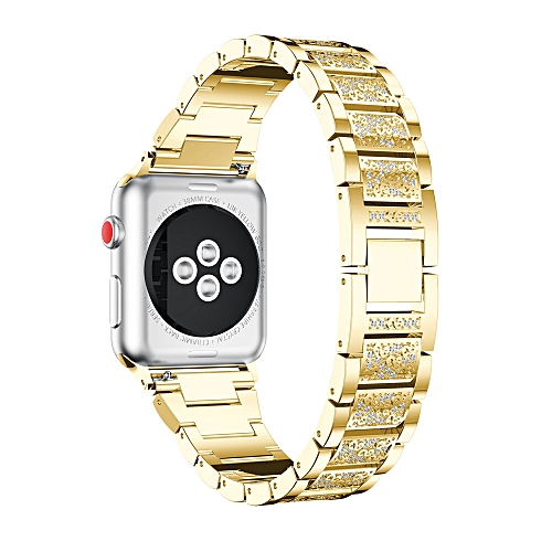 Luxury Alloy Crystal Watch Band Wrist Strap For Apple Watch Series 3 38MM GD