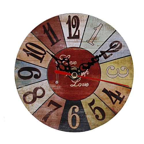 Vintage Style Non-Ticking Antique Wood Wall Clock For Home Kitchen Office