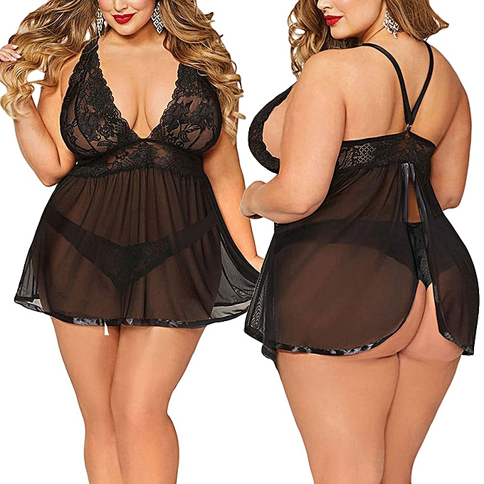2bc0303cf Fashion Women Sexy Lingerie Plus Size Open Back Lingerie Lace Babydoll  Sleepwear