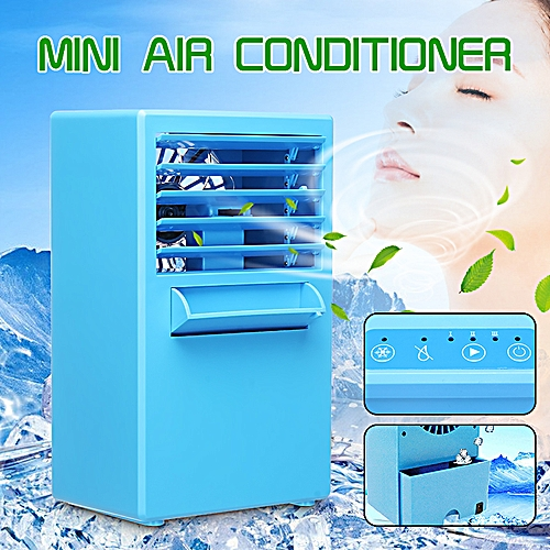 Portable 24W Spray Air Conditioning Fan Table Mini Humidifier 3 Speed Cooling - Blue