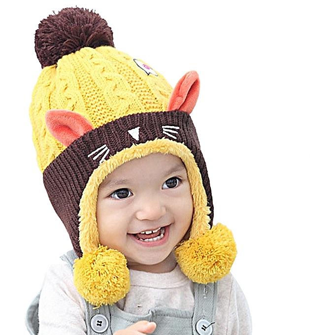 d32e6755a1a Fashion Hiaojbk Store Kid Baby Dual Balls Girl Boy Knitting Wool Keep Warm  Beanie Cap Hat YE-Yellow