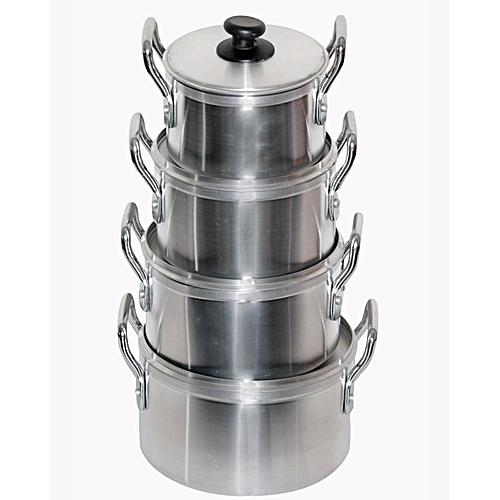 4Pcs Cooking Pot Set- Silver