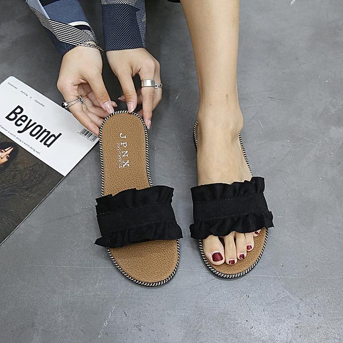3a4d47266 Fashion Women s Slippers Flat Beach Sandals Femal Casual Shoes Black ...