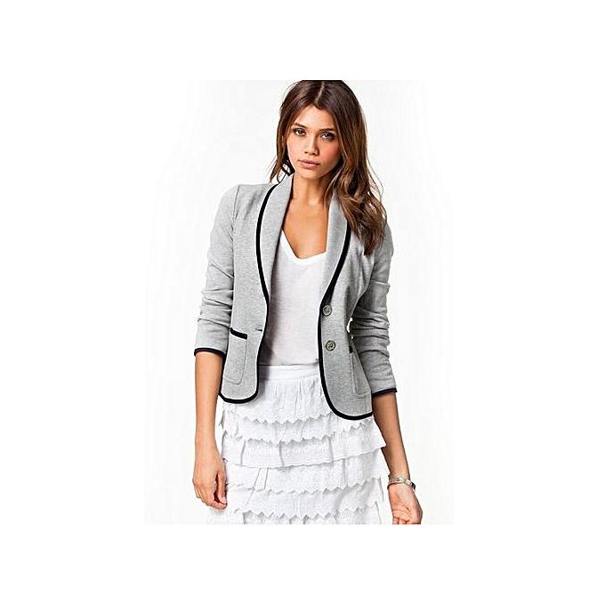 d11f09c4e72 Plus Size 6XL Formal Jacket Women s Gray Female Blue Women Suit Office  Ladies Wear To Work