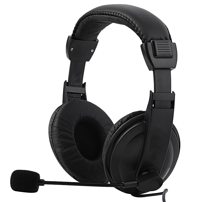 Adjustable Headset With Microphone 3.5mm Plug & Play For PC/Laptop - Black