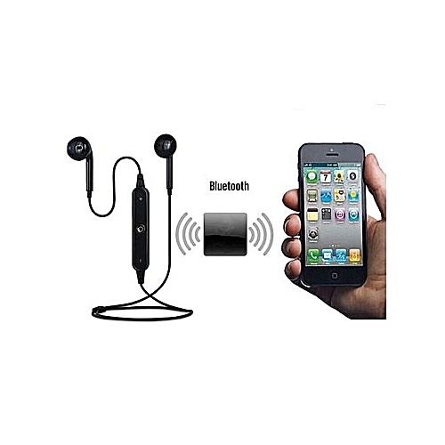 Bass Bluetooth Headset 4.1 Wireless Stereo Mini Headset Earbud, Earphone Earpiece. Compartible For All Bluetooth Phones - Black & Black.