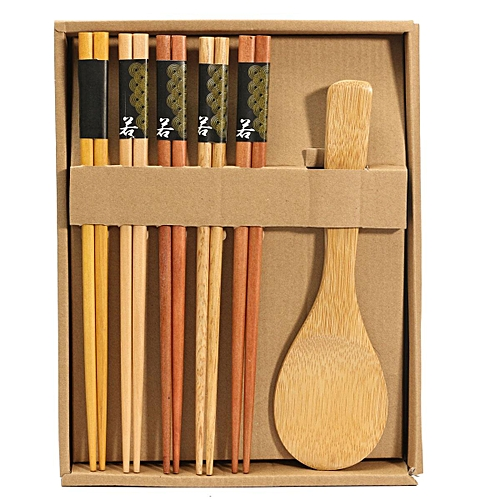 5 Pairs Japanese Natural Beech Wood Chopsticks Set Handmade Spoon Gift Pack