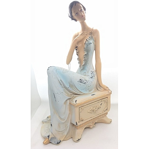 Figurine : Tall Lady In Blue Dinner Gown On Cabinet