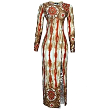 Ladies Maxi Cross Back Gown - Polyester  amp  Spandex - Brown 4504872f69