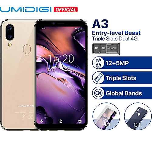 "UMIDIGI A3 Global Band 5.5""incell HD+display 2GB+16GB Smartphone Quad Core Android 8.1 12MP+5MP"