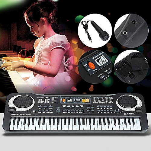 61 Keys Music Electronic Keyboard Key Board Kid Child Gift Electric Piano Black