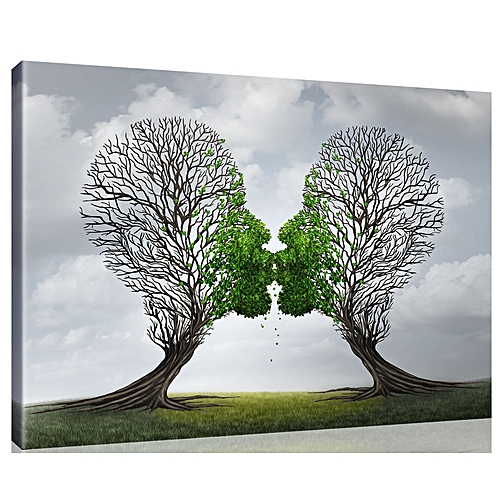 Green LOVE Kiss Tree Abstract Canvas Painting Print Home Room Wall Picture Decor-Grey+Green