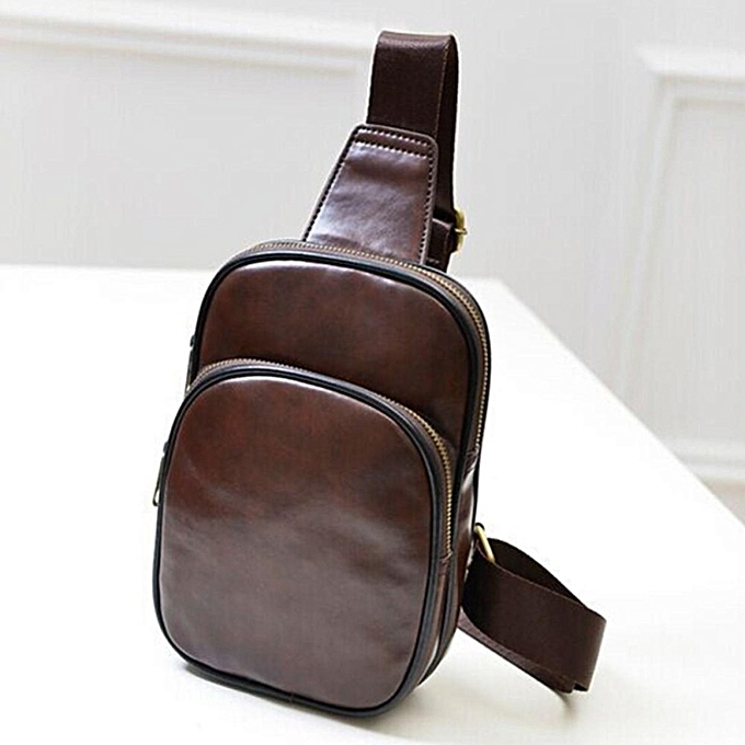 a12a9ddd97 Men s Leather Chest Sling Satchel Shoulder Crossbody Bag Day Pack Purse  Backpack Brown