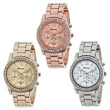 5da898ac40f8 Geneva Women  039 s Wrist Watch 3 PACK Silver Gold And Rose Gold Plated