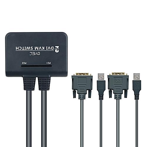 2-port KVM Switch Button USB+DVI Mouse And Keyboard Sharer