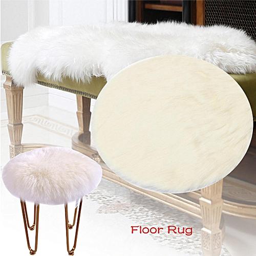 Yazi Sheepskin Area Rug Faux Fur Round Carpet Flow Window Mat Chair Throw White#60cm