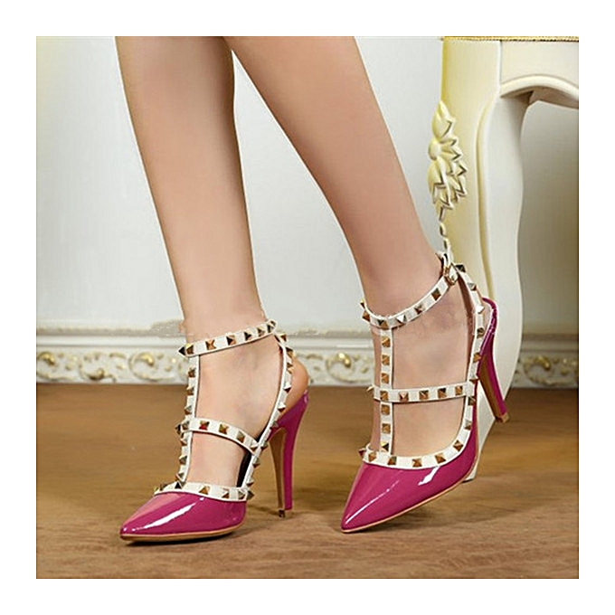 809bc781f14 Fashion Women Stiletto Pointed Toe Studded Rivet High Heels Buckle Sandals  Shoes
