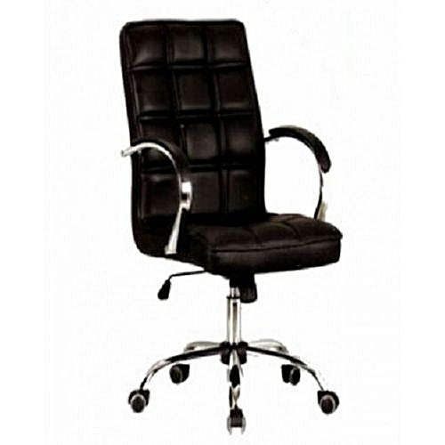 Quilted Leather Swivel Executive Office Chairs - Back