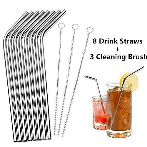 8 Pcs Stainless Steel Metal Drinking Straw Reusable Straws Plus 3 Cleaner Brush Kit