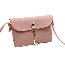 a766663e3f Women  039 s Vintage Small Deer Pendant Leather Crossbody Shoulder Bag Pink