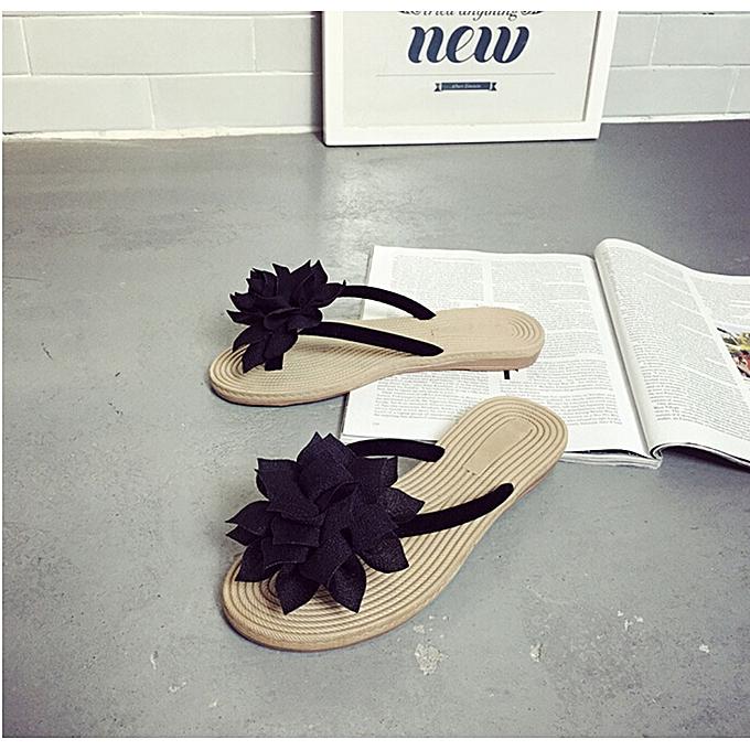 b1a5ae3454992f Jiahsyc Store Women Summer Floral Sandals Slippers Leisure Soft Flip Flops  Beach Shoes BK 37