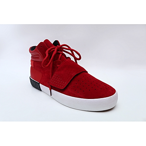 High Top Lace Up Sneaker With Velcro - Red