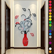 d95b5688e Wall Stickers Diy Vase Flower Tree Crystal 3d Wall Stickers (Rose Red)