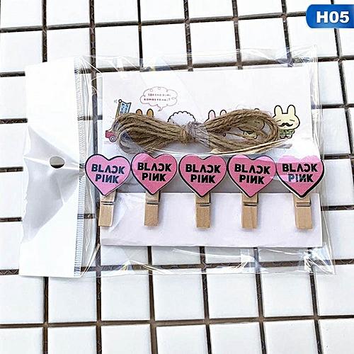 5Pcs/set Kpop BTS Bangtan Boys LOMO Cards Wooden Clips ARMY BOMB BLACKPINK EXO GOT7 TWICE WANNA ONE Decor Wood Clips Crafts
