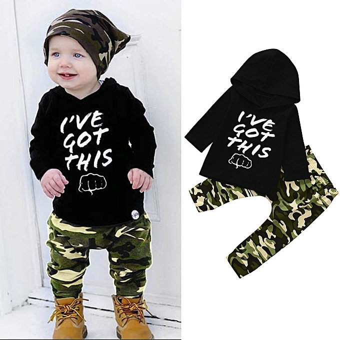 4daf48e59b4 Featured 2pcs Toddler Baby Boys Hoodie Clothes Camouflage Set Tops+Pants  Outfits