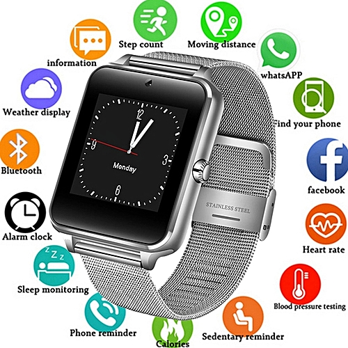 Smart Watch---Metal Strap Bluetooth Wrist Smartwatch Support Sim TF Card Android&IOS Watch Multi-languages---SILVER