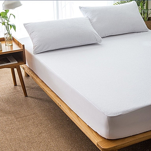 Cotton Matress Cover Solid Color Waterproof Dust-Proof Mattress Protector White 150x190cm