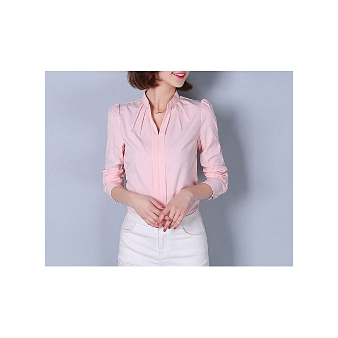 c50de3a1457661 Mengxiner Fashion Women Office Formal Plain Sexy Long Sleeve Shirt ...