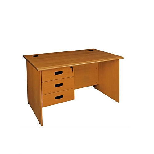 MDF Office Table With Drawer Partition - Brown